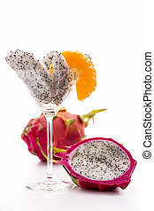 Wedges of a pitaya in a glass - Wedges of a pitaya assorted...