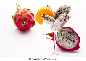 Wedges of the dragon fruit in a glass - Wedges of the dragon...