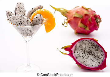 Fruit flesh of the Pitahaya blanca in a glass - The juicy...