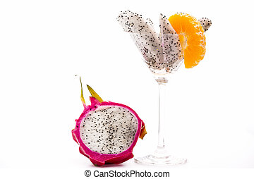 Nanettika fruit for dessert - The white pulp of the pitaya...