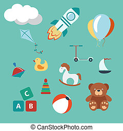 Toys colorful set Modern Flat Style Vector illustration