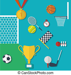 Concept of sports equipment in flat style. Vector illustration design