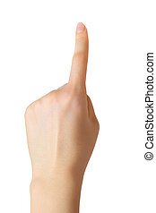 Pointing hand - Young woman pointing hand. Isolated on...