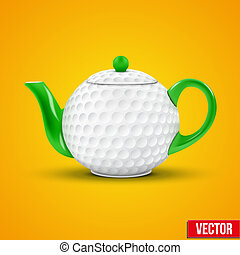 Ceramic Teapot In Golf Ball Style. Vector Illustration.