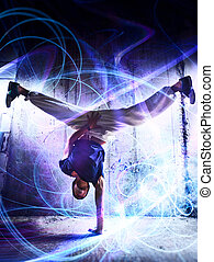 Break dance - Young man break dance on wall background. With...