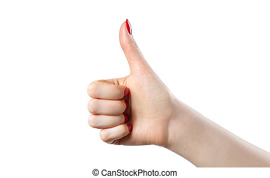 Thumb up handsign - Young woman thumb up handsign. Isolated...