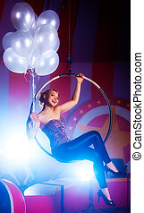 Young happy woman with balloons