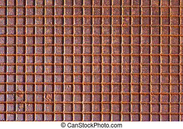 Rusty tiled metal texture or background