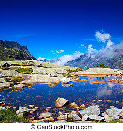 Pyrenees landscape - Pyrenees mountains and lake landscape.