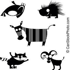 漫画, シルエット, 動物