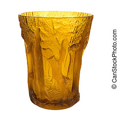 AMBER DECORATIVE VASE - AMBER COLORED DECORATIVE VASE
