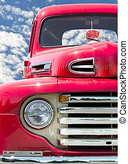 classic red truck - Red old truck with red fuzzy dice