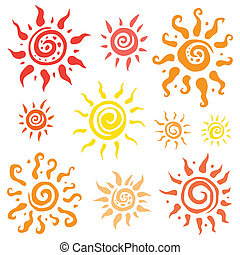 Sun set Vector hand drawn illustration - Sun symbols...