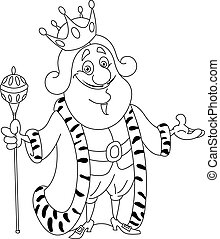 Outlined king Vector illustration coloring page