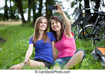 Selfie on a green glade - Taking a selfie on a green glade