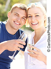 Romantic couple with champagne