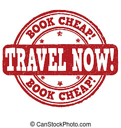 Book cheap, travel now stamp