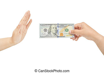 Refusing bribe - A hand's gesture for refusing bribe. Do not...