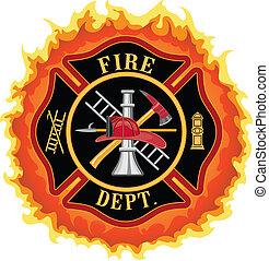 pompiere, croce, con, fiamme