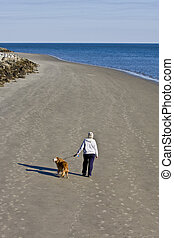 Woman Walking Dog on Beach