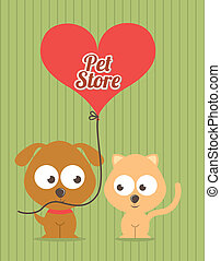 pets design over lineal background vector illustration