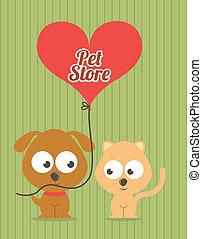 pets design over lineal background vector illustration