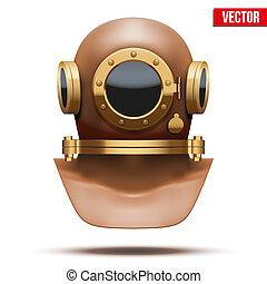 Underwater diving helmet. Vector Illustration - Front view...