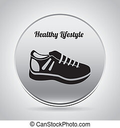healthy lifestyle over gray  background vector illustration