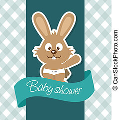 baby shower design over pattern background vector...