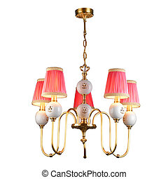 Vintage chandelier isolated on white with clipping path -...