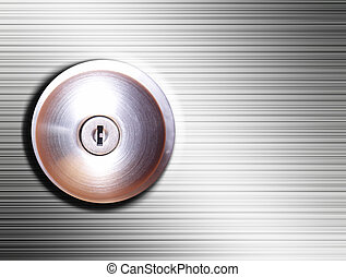 Silver lock - Chrome lock over silver background Security...