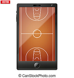 Smartphone with a basketball field on the screen Sport...