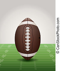 American Football on Grass Field Illustration - An...