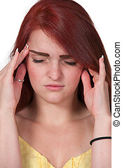 Woman with Headache - Beautiful woman with a painful...