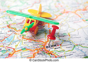 Bern ,Swiss map airplane - map of Bern, Swiss and red pin...