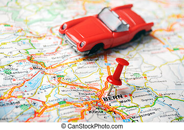 Bern ,Swiss map auto - map of Bern, Swiss and red pin and a...