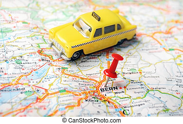 Bern ,Swiss map taxi - map of Bern, Swiss and red pin and a...