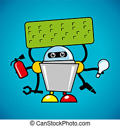 Vector robot assistant - Identity corporate logo Isolated on...