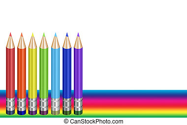 Pencils - A row of rainbow colored pencils over white. Art...