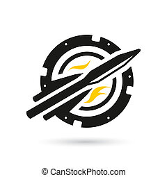 Vector rocket into space - Identity corporate logo Isolated...