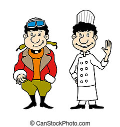 Vector character pilot and chef set - Pilot and chef,...