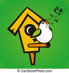 Vector birdhouse on a green background - Illustration on the...
