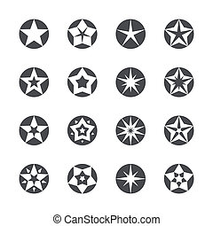Vector stars set icons - Set of different stars inscribed in...