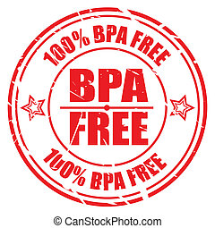 100 PERCENT BPA FREE red stamp text on white