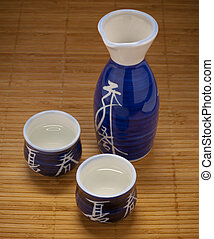motivo, frasco, bambú, tazas