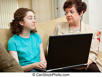 Confrontation Over Computer - Mother confronts teenage...