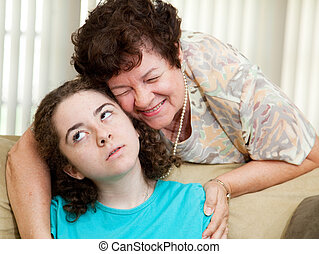 Annoying Aunt Betty - Teen puts up with a hug from an...