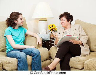 College Admissions Interview - Teen girl being interviewed...