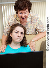 Teen Annoyed by Mom - Teen girl annoyed by her aunt watching...