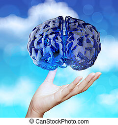 medical doctor hand showing 3d blue glass human brain on...